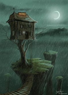 Why is this house built like this? Who lives there? What are they like? Cartoon Illustrations by Jeremiah Morelli
