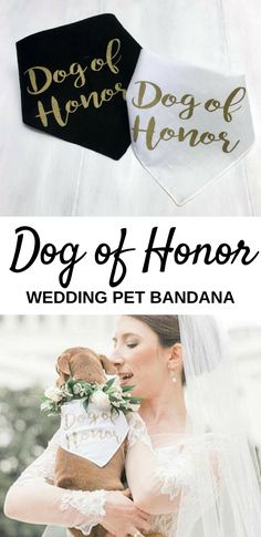 I think this Dog of Honor Wedding Pet Bandana is such a cute idea for the Bride's doggie to wear to the wedding or in wedding photos. #ad #weddingideas
