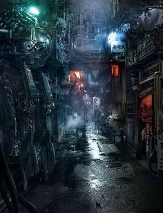 environment by Jean_Oh - jing (looks like a dystopian golden gai) Cyberpunk City, Ville Cyberpunk, Cyberpunk Kunst, Futuristic City, Cyberpunk Aesthetic, Sci Fi Environment, Environment Design, Fantasy Landscape, Fantasy Art