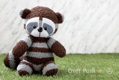 Sewing Toys free stuffed animal toy sewing pattern and tutorial, sewn from socks. Raccoon Stuffed Animal, Sewing Stuffed Animals, Stuffed Toys Patterns, Sewing Toys, Sewing Crafts, Sock Crafts, Sock Toys, Sewing Patterns Free, Bear Patterns
