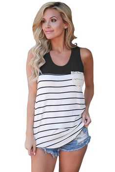 Hount Women's Summer Color Block Striped Racerback Cami Tank Tops Sleeveless Tunic Tops T-Shirts Zara Tops, Diy Couture, Striped Tank Top, Look Fashion, Fashion Ideas, Timeless Fashion, Fashion Images, Fashion Inspiration, Fashion Design