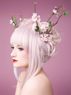 I dunno how crazy I will get, but there are so many pretty crowns. Dramatic antler branch crown in pink - #crown #antlers #dress