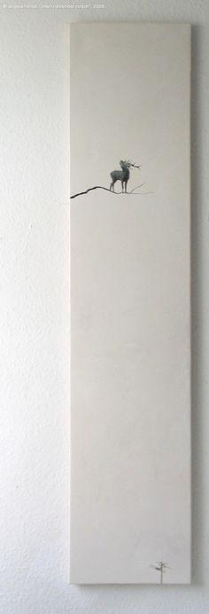 "Angela Rohde, ""mein röhrender hirsch"", 2008, Other/ Multi disciplinary, collage on chalk on canvas, 40 x 120 x 2 cm"