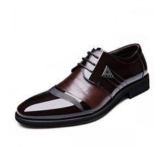6519ea253 حذاء رجالي رسمي برباط للاغلاق وقصة مدببة من الامام. Men Color Blocking  Splicing Pointed Toe Lace Up Formal Shoes ...