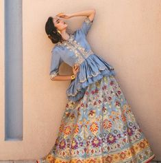 Beautiful Lehenga with all over embroidery embellishments and paired with peplum blouse top. Fashion Show Dresses, Indian Fashion Dresses, Indian Designer Outfits, Simple Pakistani Dresses, Indian Gowns Dresses, Pakistani Dress Design, Designer Party Wear Dresses, Kurti Designs Party Wear, Lehenga Designs