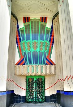 Art Deco door at the Hoover Building on Western Avenue in London, England