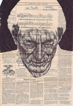 Bic biro drawing on a 1943 Italian newspaper. By Mark Powell.