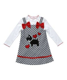 Take a look at this White Tee & Red Dog Plaid Dress - Toddler & Girls by Youngland on #zulily today!