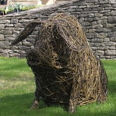 Gloucester Old Spot Piglet £550.00 The sculptures are made using British willow that is interwoven and shaped around steel armature by talented artist Emma Stothard, who has been invited by HRH The Prince of Wales to exhibit her willow sculptures on the Orchard Lawns at Highgrove. The contrasting willow colours create form and definition in each animal sculpture. Finally the piece is then coated in a linseed oil and turpentine solution to preserve and protect it. Emma was able to start her…