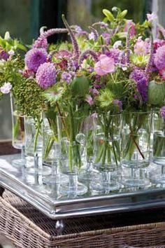 Summer flowers for pink / lavender / white themed table Wedding Arrangements, Floral Arrangements, Table Arrangements, Flower Centerpieces, Flower Decorations, Table Decorations, Table Violet, Decoration Plante, Small Bouquet
