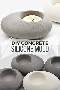 I love these rock shaped concrete candle holders. With the awesome good quality silicone mold I could decorate my livingroom and my bathroom with them. #ad #concrete #siliconemold #cement #candleholder #rock #decoration #homedecor #peble