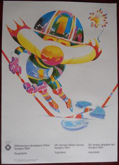 Poster Sarajevo Vucko Olympic Winter Games Ice Hockey 1984 Yugoslavia
