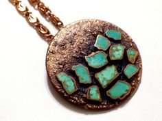 Turquoise Copper Pendant Vintage Copper Necklace by TheCopperCat