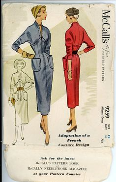 1950s Dress Pattern McCalls 9259 Rare French Couture Misses Day or Evening Cocktail Sheath Dress Bust 30 Womens Vintage Sewing Pattern. $68.00, via Etsy.