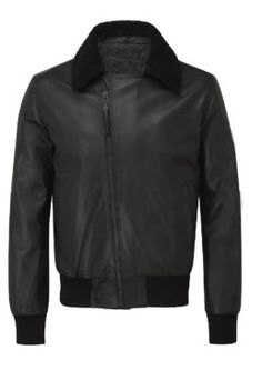 Bomber Aviator Black Leather Jacket
