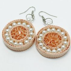 Quilled earrings - quilled jewelry - spring jewelry - wedding jewelry -lightweight jewelry - women's jewelry - pearl earrings