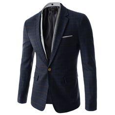 Navy Blue Two Button Slim Fit Blazers #korean clothing http://bit.ly/1tkgOSj