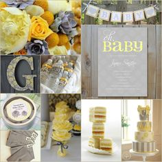 Gender Neutral Gray and Yellow Baby Shower