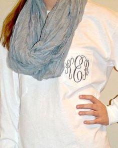 Preppy Monogrammed Long Sleeve Pocket Tshirt Tee Personalied Teen Bridesmaid gift
