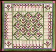 "Flower Garden 8.5"" x 8.5"" on 18 ct eggshell canvas Pattern: 12.00 - by Laura J Perin Designs"