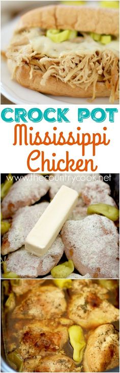 Crock Pot Mississippi Chicken recipe from The Country Cook (Crockpot Sandwich Recipes) Slow Cooker Huhn, Crock Pot Slow Cooker, Slow Cooker Recipes, Crockpot Recipes, Easy Recipes, Slow Cooker Turkey, Steak Recipes, Keto Recipes, Vegetarian Recipes