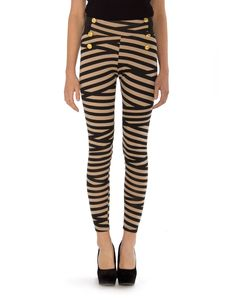 Gold Buttoned Stripey Leggings //