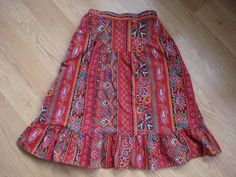 Vintage 1970s Calico Skirt Red Paisley by bycinbyhand on Etsy, $22.00