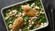 Sheet-Pan Italian Chicken, White Beans and Spinach for Two recipe and reviews - Cook dinner for two without the waste! Fast-cooking chicken, flavourful beans and bold greens make this all-on-one meal a total no-brainer. Recipe by Tablespoon.com.
