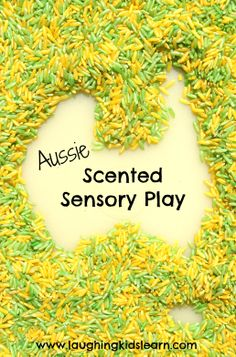 Aussie eucalyptus scented sensory rice for children to play with during Australia Day