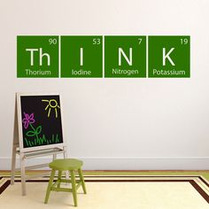 Science wall decal investigate periodic table sticker classroom this fun think decal is made using elements from the periodic table of elements this decal would look perfect in a c urtaz Gallery