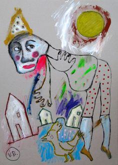 """""""Los buenos consejos"""" de Victoria Barranco @ VirtualGallery.com -Descripción: Pintura acrílica en cartón de 50x70 cm (19.7x27.6 in). Arte marginal. Hombre con gallinas y casas de fondo. (2015) [-]"""