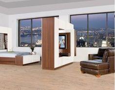 A studio-dwellers dream come true! Tv Stand Room Divider, Diy Room Divider, Swivel Tv Stand, Tv Rack, Wardrobe Room, Big Screen Tv, Diy Tv Stand, Tv Furniture, Flat Panel Tv