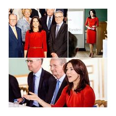 """Beautiful inside out! Crownprincess Mary of Denmark restlessly working on her social projects for """"Mary Fonden"""". Here she meets with Foundation at her home Amalienborg castle. P.s.: Red dress by @hugoboss is // Kongehuset/Steen Brogaard, May/04/2016"""
