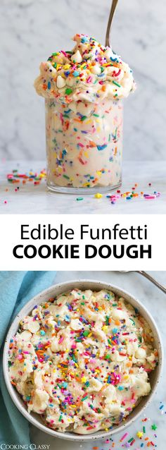 Five Approaches To Economize Transforming Your Kitchen Area Edible Cookie Dough 3 Delicious Flavors - Cooking Classy Cookie Dough Vegan, Cookie Dough Recipes, Edible Cookie Dough, Fun Baking Recipes, Sweet Recipes, Cookie Dough Cake, Cool Recipes, Cooking Recipes, Funfetti Cookies