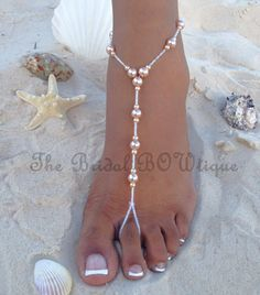Champagne Pearls Barefoot Sandals, Wedding Barefoot Sandals, Beach Barefoot Sandal, Bridal Foot Jewelry, Footless Sandal
