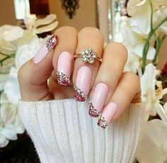 Pink nails with gems ❤