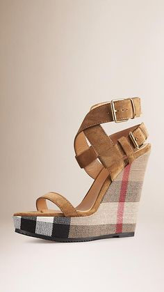 a5e75105264 Sandstone Canvas Check Suede Platform Wedges - Image 1 Womens Shoes Wedges