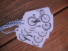Set of six purple tags with bicycle | COUNTRYGIRLSCOTTAGE - Cards on ArtFire