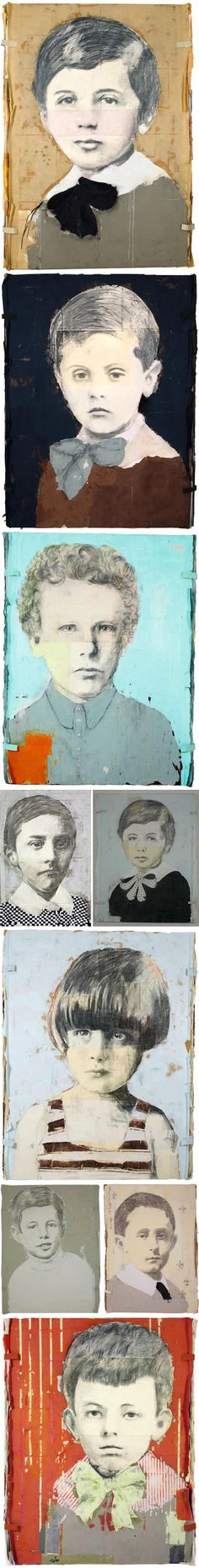 """Louis Boudreault's large scale mixed media series titled """"Destiny"""" are the childhood portraits of such greats as Picasso, Warhol, Van Gogh, Elvis etc!"""