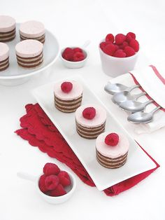 Raspberry Mousse Cakes ~ A lovely light cake for your Valentines dessert. Raspberry Mousse Cakes Are you gasping that I'm already launching into Valentines when Christmas and New Years has just hardly passed? Well Valentines is one of my favorite baking holidays. It incorporates one of my favorite colors, pink and one of my favorite motifs, hearts. So expect to see lots of Valentines treats. A few notes: For the recipe and a step-by-step how-to for the joconde cake click here . It's eas...