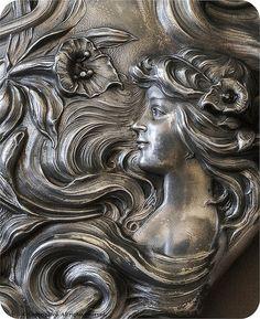 Art Nouveau Mirror deta c. 1900il