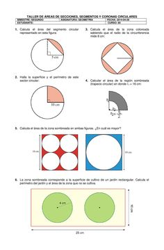 Title: TALLER AREAS CIRCULARES, Author: Jose Ignacio Marquez, Length: 1 pages, Published: Area Circulo, Volume Worksheets, Math Sheets, Third Grade Math, Teaching Math, Knowledge, Activities, Education, Learning