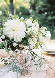 Dahlia centerpiece: http://www.stylemepretty.com/destination-weddings/2015/10/08/elegant-old-french-abbey-wedding-inspiration/ | Photography: Anna Tereshina - http://www.tereshina.com/
