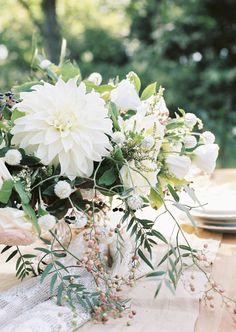 Dahlia centerpiece: http://www.stylemepretty.com/destination-weddings/2015/10/08/elegant-old-french-abbey-wedding-inspiration/ | Photography: Anna Tereshina - http://www.tereshina.com/