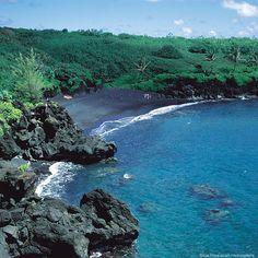 Black sand beach at Waianapanapa State Park near Hana.
