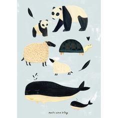 Poster Black & White Animals grau