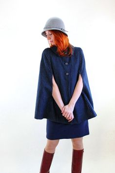 Vintage 1960s Navy Blue Pinstriped Wool Cape Coat by gogovintage. , via Etsy.