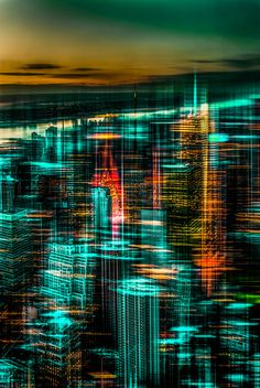 New York - the night awakes (green)  by Hannes Cmarits (hannes61)