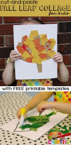 Cut and Paste Fall Leaf Collage Art Project for kids