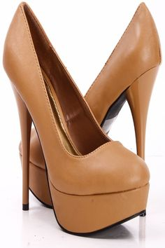 CAMEL FAUX LEATHER ROUND TOE PLATFORM GLOSSY HIGH HEEL PUMPS